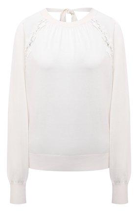 Женский пуловер из шелка и хлопка CHLOÉ молочного цвета, арт. CHC21AMP01640   Фото 1