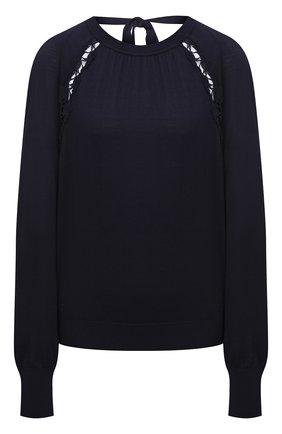 Женский пуловер из шелка и хлопка CHLOÉ темно-синего цвета, арт. CHC21AMP01640   Фото 1
