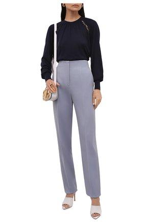 Женский пуловер из шелка и хлопка CHLOÉ темно-синего цвета, арт. CHC21AMP01640   Фото 2