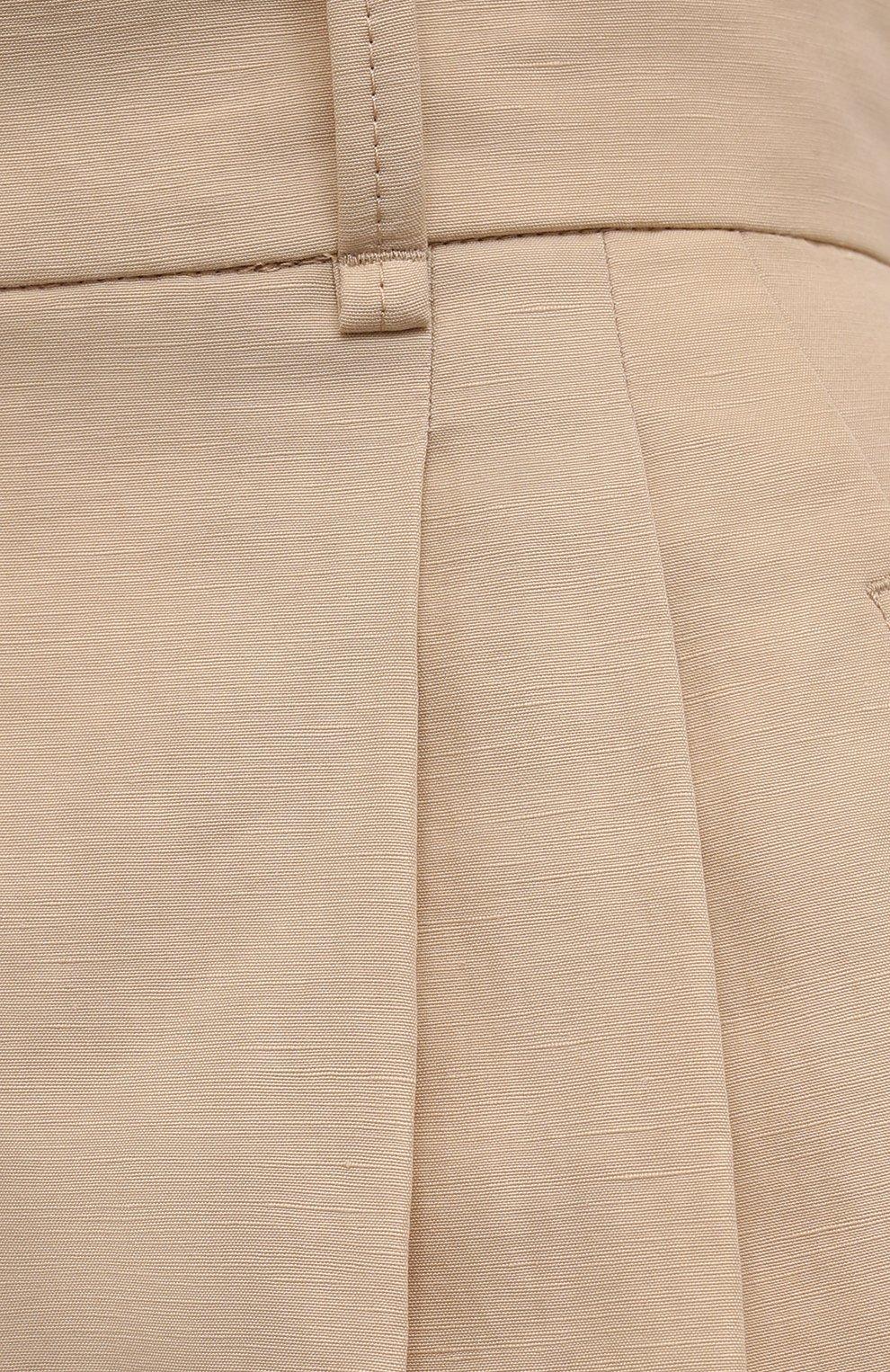 Женские шорты изо льна и хлопка CHLOÉ бежевого цвета, арт. CHC21ASH68045   Фото 5 (Женское Кросс-КТ: Шорты-одежда; Длина Ж (юбки, платья, шорты): Мини; Материал внешний: Хлопок, Лен; Материал подклада: Хлопок; Стили: Кэжуэл)