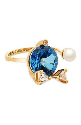 Женские кольцо DELFINA DELETTREZ бесцветного цвета, арт. MGT1001.E(BLUE) | Фото 1