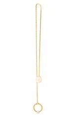 Женские серьга DELFINA DELETTREZ бесцветного цвета, арт. MGT5004.P | Фото 1 (Драгоценные камни: Жемчуг; Материал сплава: Желтое золото)