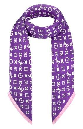 Женская шелковая шаль lv now double face LOUIS VUITTON фиолетового цвета, арт. MP3088 | Фото 1