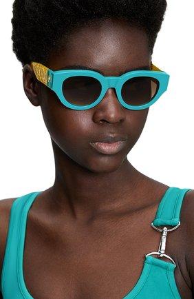 Женские солнцезащитные очки LOUIS VUITTON бирюзового цвета, арт. Z1546W | Фото 2