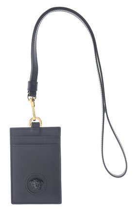 Женский кожаный футляр для кредитных карт VERSACE черного цвета, арт. DP3I100/DVIT5T   Фото 1