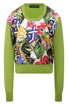 Женский пуловер из кашемира и шелка DOLCE & GABBANA зеленого цвета, арт. FXD39T/JBMR1   Фото 1 (Материал подклада: Шелк; Материал внешний: Кашемир, Шерсть; Женское Кросс-КТ: Пуловер-одежда; Рукава: Длинные; Стили: Романтичный; Длина (для топов): Стандартные, Укороченные)