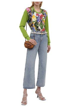 Женский пуловер из кашемира и шелка DOLCE & GABBANA зеленого цвета, арт. FXD39T/JBMR1   Фото 2 (Материал подклада: Шелк; Материал внешний: Кашемир, Шерсть; Женское Кросс-КТ: Пуловер-одежда; Рукава: Длинные; Стили: Романтичный; Длина (для топов): Стандартные, Укороченные)