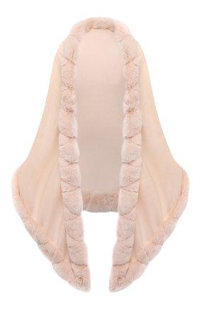 Женская кашемировая шаль с мехом шиншиллы LORO PIANA розового цвета, арт. FAI8699   Фото 1