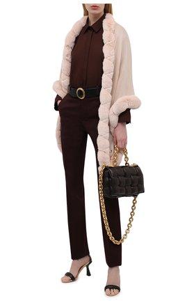 Женская кашемировая шаль с мехом шиншиллы LORO PIANA розового цвета, арт. FAI8699   Фото 2