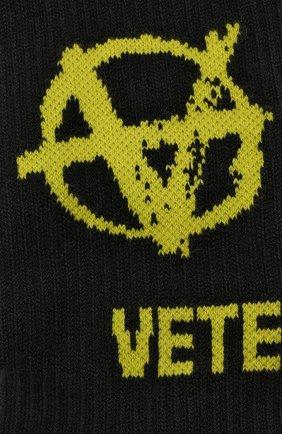 Женские хлопковые носки VETEMENTS черного цвета, арт. UA52S0300X 2906/W | Фото 2