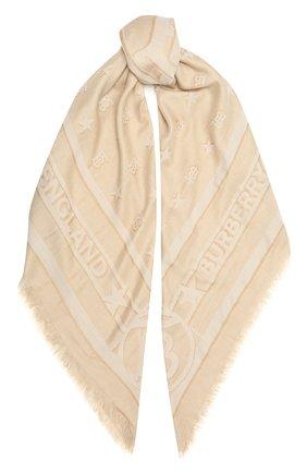 Женский шарф BURBERRY бежевого цвета, арт. 8039435 | Фото 1