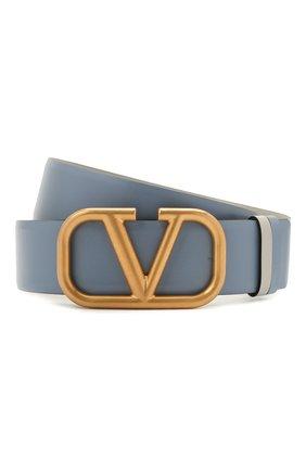 Женский кожаный ремень  VALENTINO голубого цвета, арт. WW2T0S11/ZFR   Фото 1