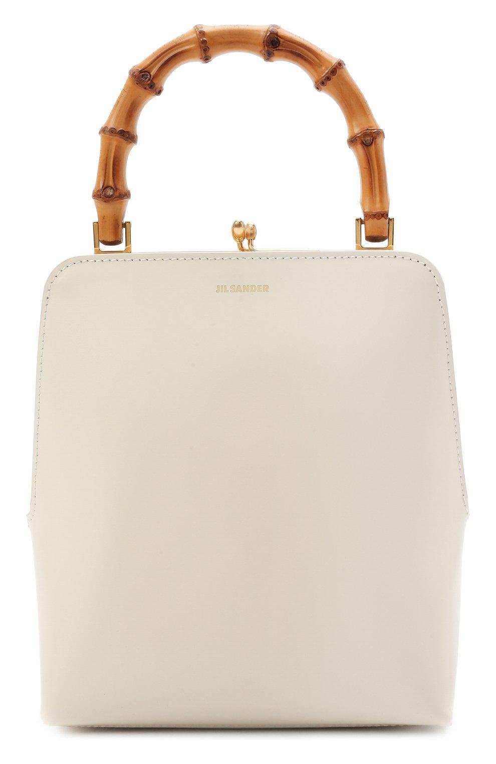 Женская сумка goji JIL SANDER кремвого цвета, арт. JSPT851578-WTB00080N | Фото 1 (Сумки-технические: Сумки top-handle; Размер: medium, mini; Материал: Натуральная кожа)