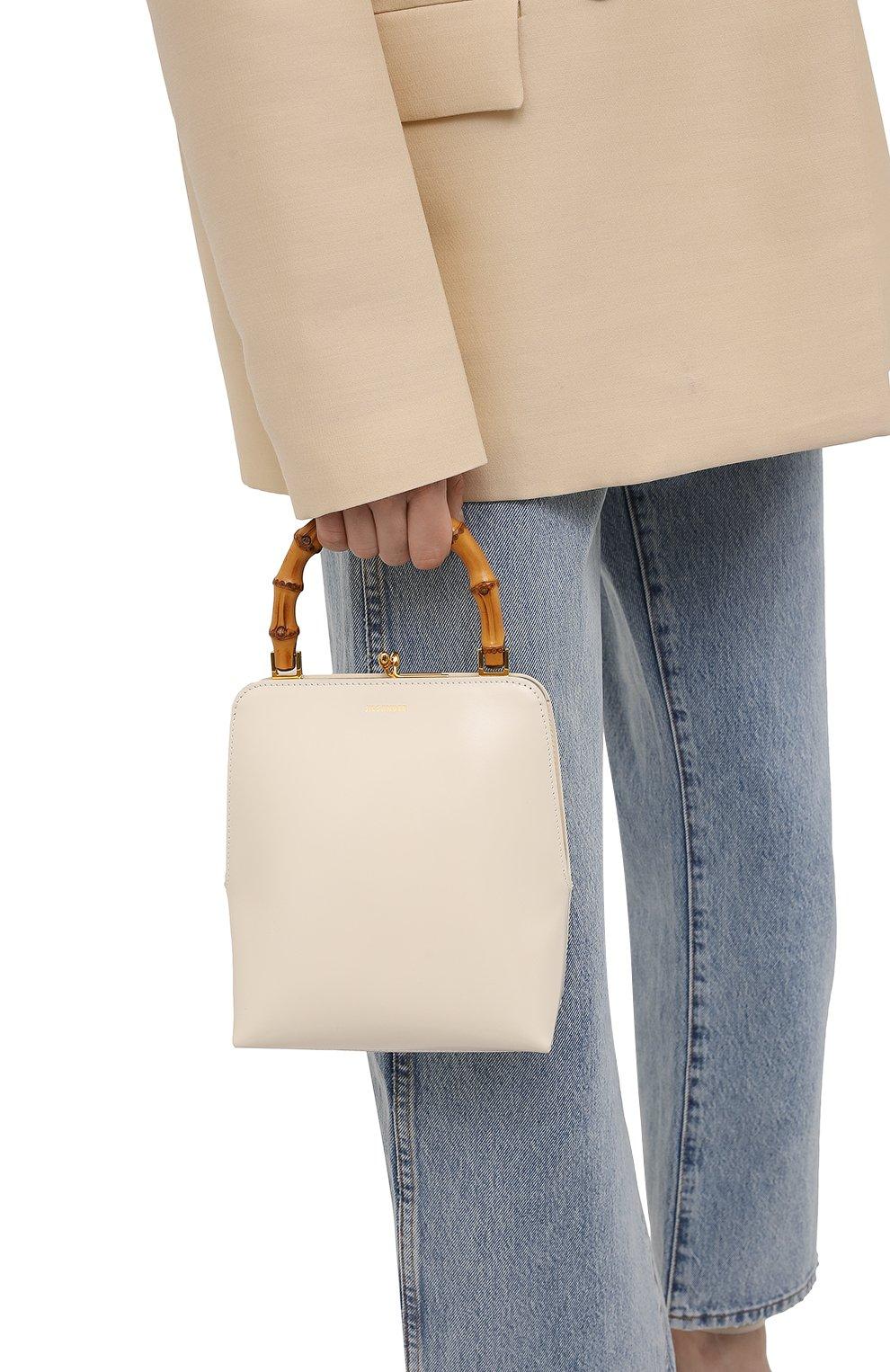 Женская сумка goji JIL SANDER кремвого цвета, арт. JSPT851578-WTB00080N | Фото 2 (Сумки-технические: Сумки top-handle; Размер: medium, mini; Материал: Натуральная кожа)