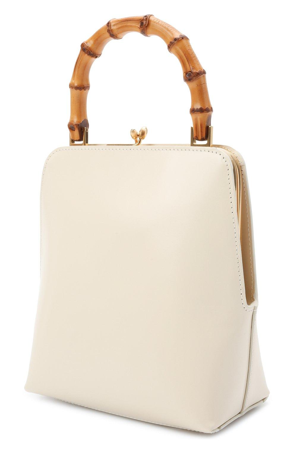 Женская сумка goji JIL SANDER кремвого цвета, арт. JSPT851578-WTB00080N | Фото 3 (Сумки-технические: Сумки top-handle; Размер: medium, mini; Материал: Натуральная кожа)