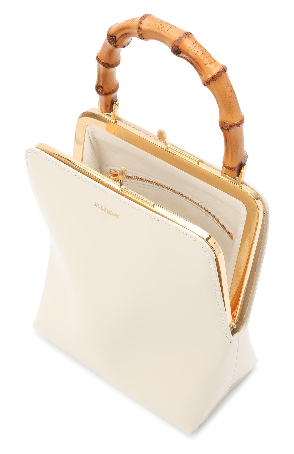 Женская сумка goji JIL SANDER кремвого цвета, арт. JSPT851578-WTB00080N | Фото 4 (Сумки-технические: Сумки top-handle; Размер: medium, mini; Материал: Натуральная кожа)