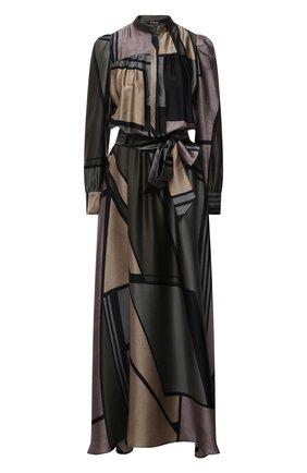 Женское шелковое платье KITON зеленого цвета, арт. D52304K0585A   Фото 1