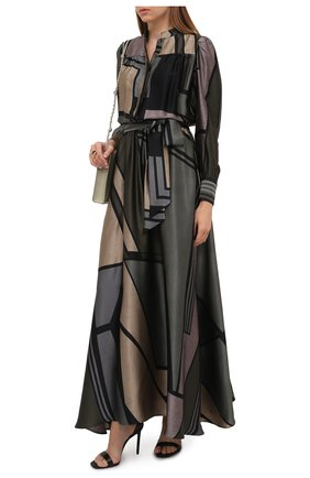 Женское шелковое платье KITON зеленого цвета, арт. D52304K0585A   Фото 2