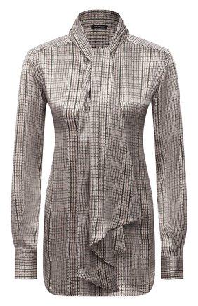Женская шелковая блузка KITON зеленого цвета, арт. D38455K0587A   Фото 1 (Материал внешний: Шелк; Длина (для топов): Стандартные; Женское Кросс-КТ: Блуза-одежда; Рукава: Длинные; Стили: Романтичный)