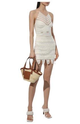Женское хлопковое платье loewe x paula's ibiza LOEWE кремвого цвета, арт. S616Y15K07 | Фото 2 (Материал подклада: Синтетический материал; Длина Ж (юбки, платья, шорты): До колена, Мини; Материал внешний: Хлопок; Женское Кросс-КТ: Платье-одежда; Стили: Бохо; Случай: Повседневный; Кросс-КТ: Трикотаж)