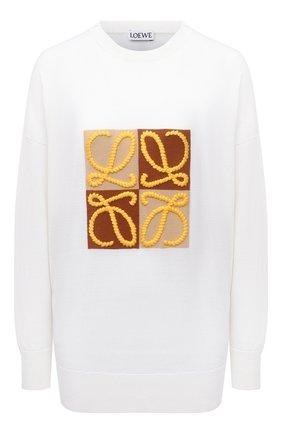 Женский шерстяной пуловер LOEWE белого цвета, арт. S359Y14K18 | Фото 1 (Рукава: Длинные; Материал внешний: Шерсть; Длина (для топов): Стандартные; Женское Кросс-КТ: Пуловер-одежда; Стили: Кэжуэл)