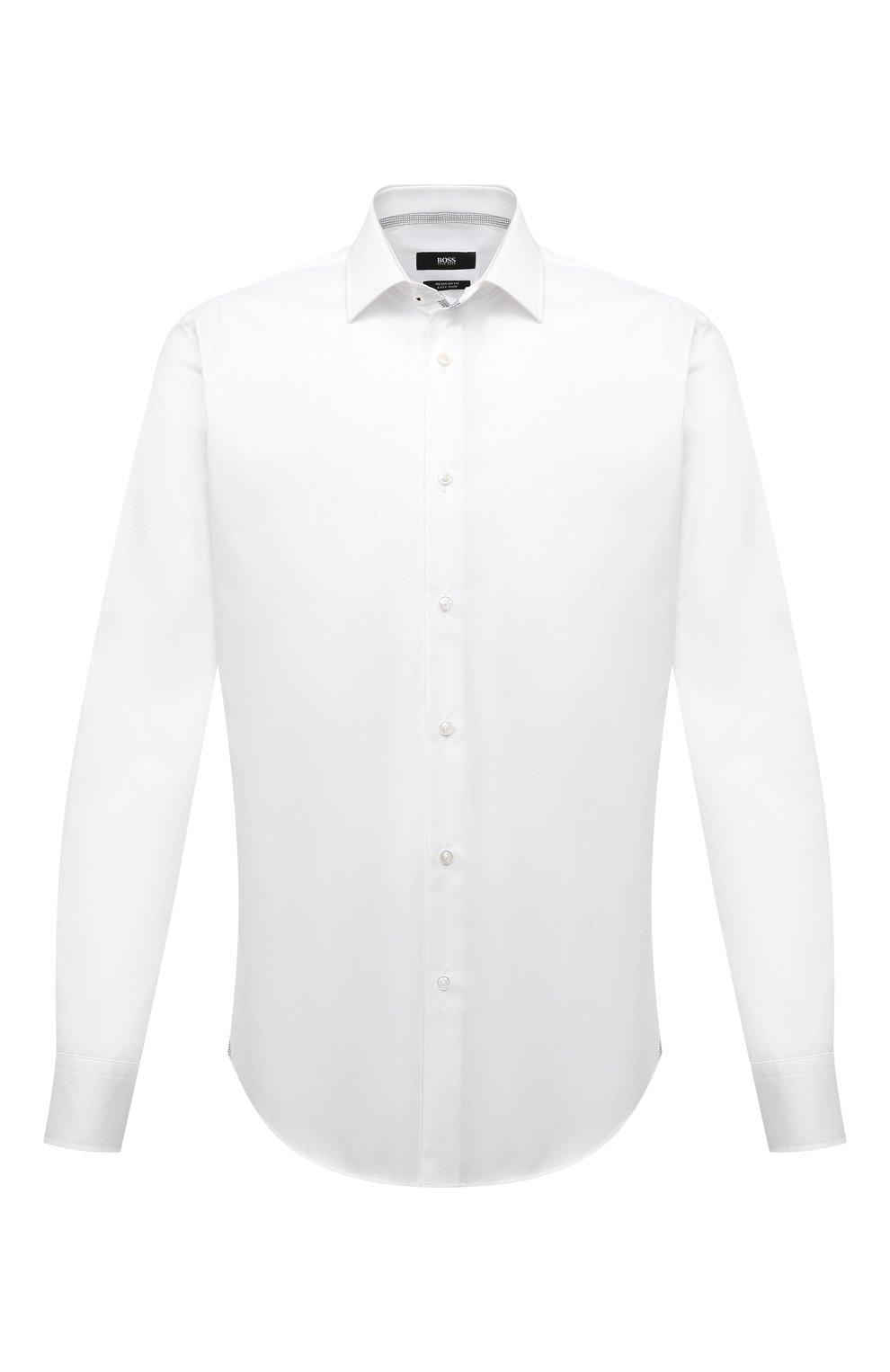 Мужская хлопковая сорочка BOSS белого цвета, арт. 50454029   Фото 1
