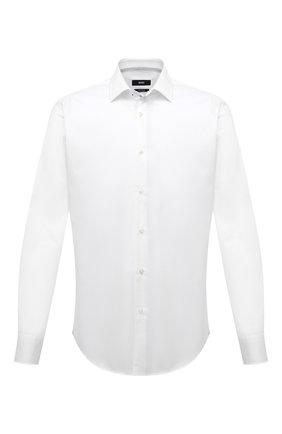 Мужская хлопковая сорочка BOSS белого цвета, арт. 50454029 | Фото 1 (Рукава: Длинные; Материал внешний: Хлопок; Случай: Формальный; Воротник: Кент; Рубашки М: Regular Fit; Стили: Классический; Манжеты: На пуговицах; Принт: Однотонные; Длина (для топов): Стандартные)