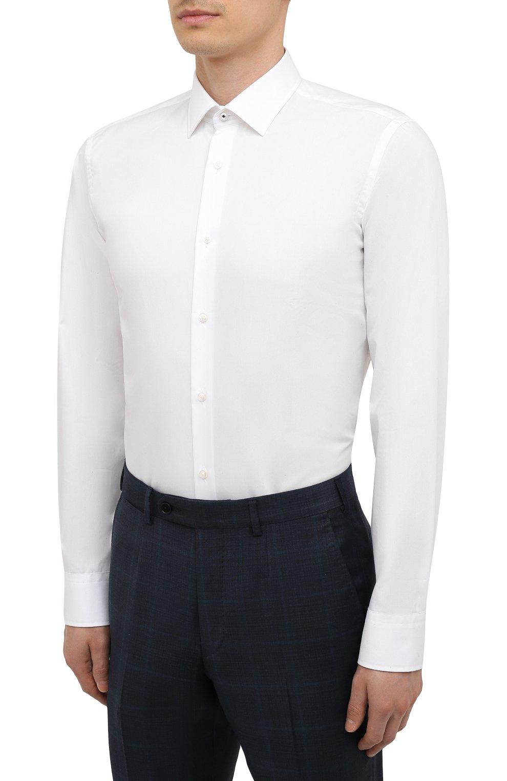 Мужская хлопковая сорочка BOSS белого цвета, арт. 50454029   Фото 3