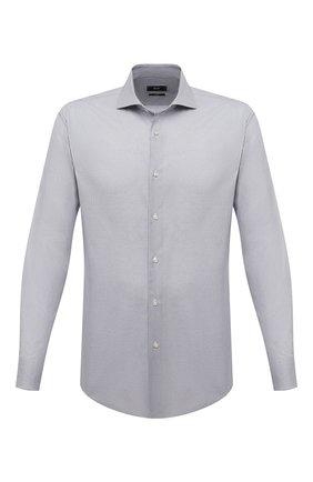 Мужская сорочка BOSS серого цвета, арт. 50451156 | Фото 1 (Материал внешний: Лиоцелл, Хлопок; Длина (для топов): Стандартные; Случай: Формальный; Воротник: Кент; Рукава: Длинные; Стили: Классический; Рубашки М: Slim Fit; Принт: Клетка; Манжеты: На пуговицах)