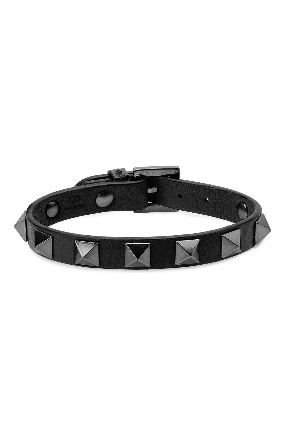 Мужской кожаный браслет VALENTINO черного цвета, арт. WY2J0801/VH3 | Фото 1