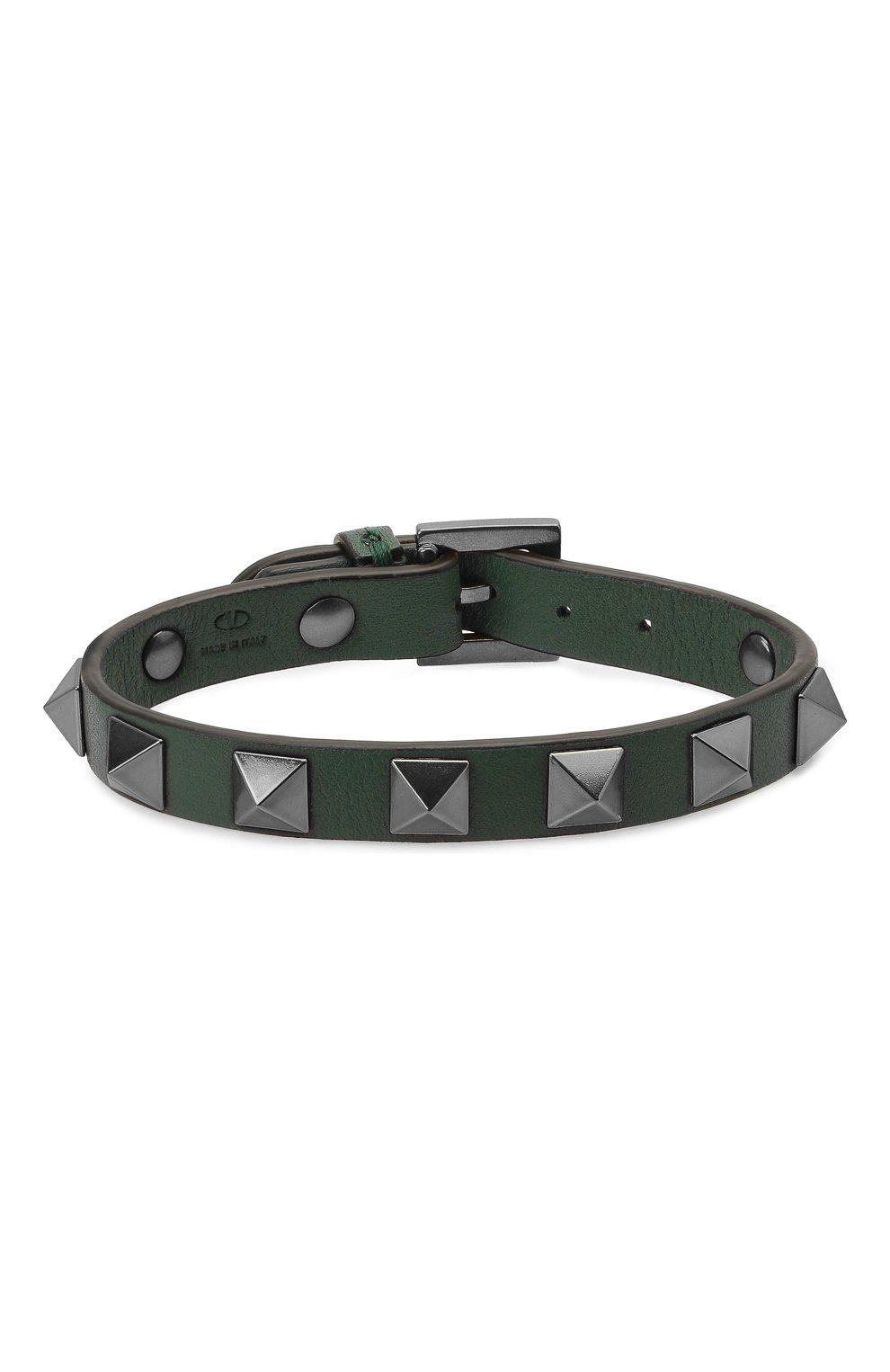 Мужской кожаный браслет VALENTINO зеленого цвета, арт. WY2J0801/VH3   Фото 1