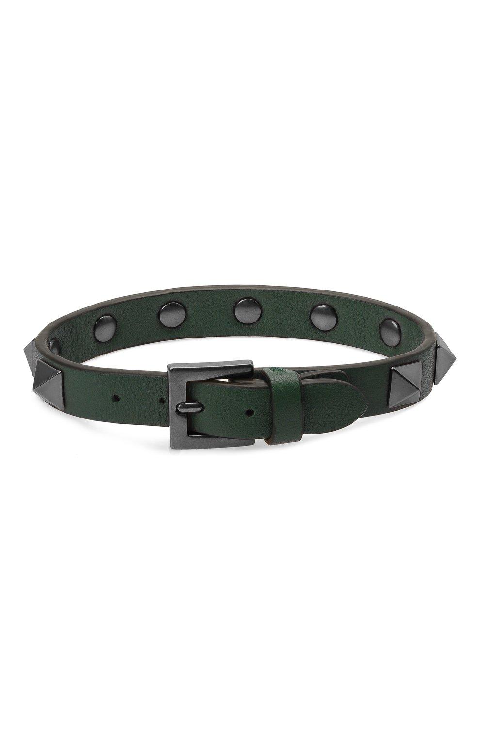 Мужской кожаный браслет VALENTINO зеленого цвета, арт. WY2J0801/VH3   Фото 2