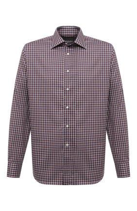 Мужская хлопковая рубашка CANALI коричневого цвета, арт. N705/GR01836 | Фото 1 (Длина (для топов): Стандартные; Материал внешний: Хлопок; Случай: Повседневный; Воротник: Кент; Стили: Кэжуэл; Рукава: Длинные; Рубашки М: Regular Fit; Принт: Клетка; Манжеты: На пуговицах)