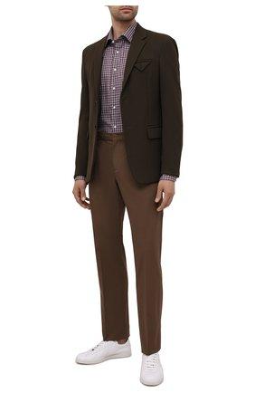Мужская хлопковая рубашка CANALI коричневого цвета, арт. N705/GR01836 | Фото 2 (Длина (для топов): Стандартные; Материал внешний: Хлопок; Случай: Повседневный; Воротник: Кент; Стили: Кэжуэл; Рукава: Длинные; Рубашки М: Regular Fit; Принт: Клетка; Манжеты: На пуговицах)