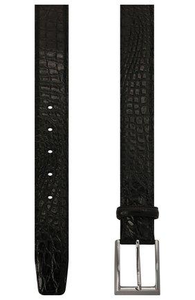Мужской ремень из кожи каймана MAGNANNI черного цвета, арт. 1107/C0C0ARCADE/CYAC | Фото 2
