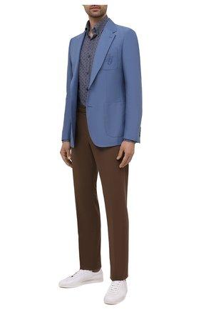 Мужская хлопковая рубашка PAUL&SHARK синего цвета, арт. 11313118/C00 | Фото 2