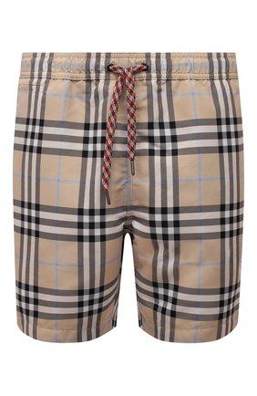 Мужские плавки-шорты BURBERRY бежевого цвета, арт. 8039198 | Фото 1 (Материал внешний: Синтетический материал; Мужское Кросс-КТ: плавки-шорты; Принт: С принтом)