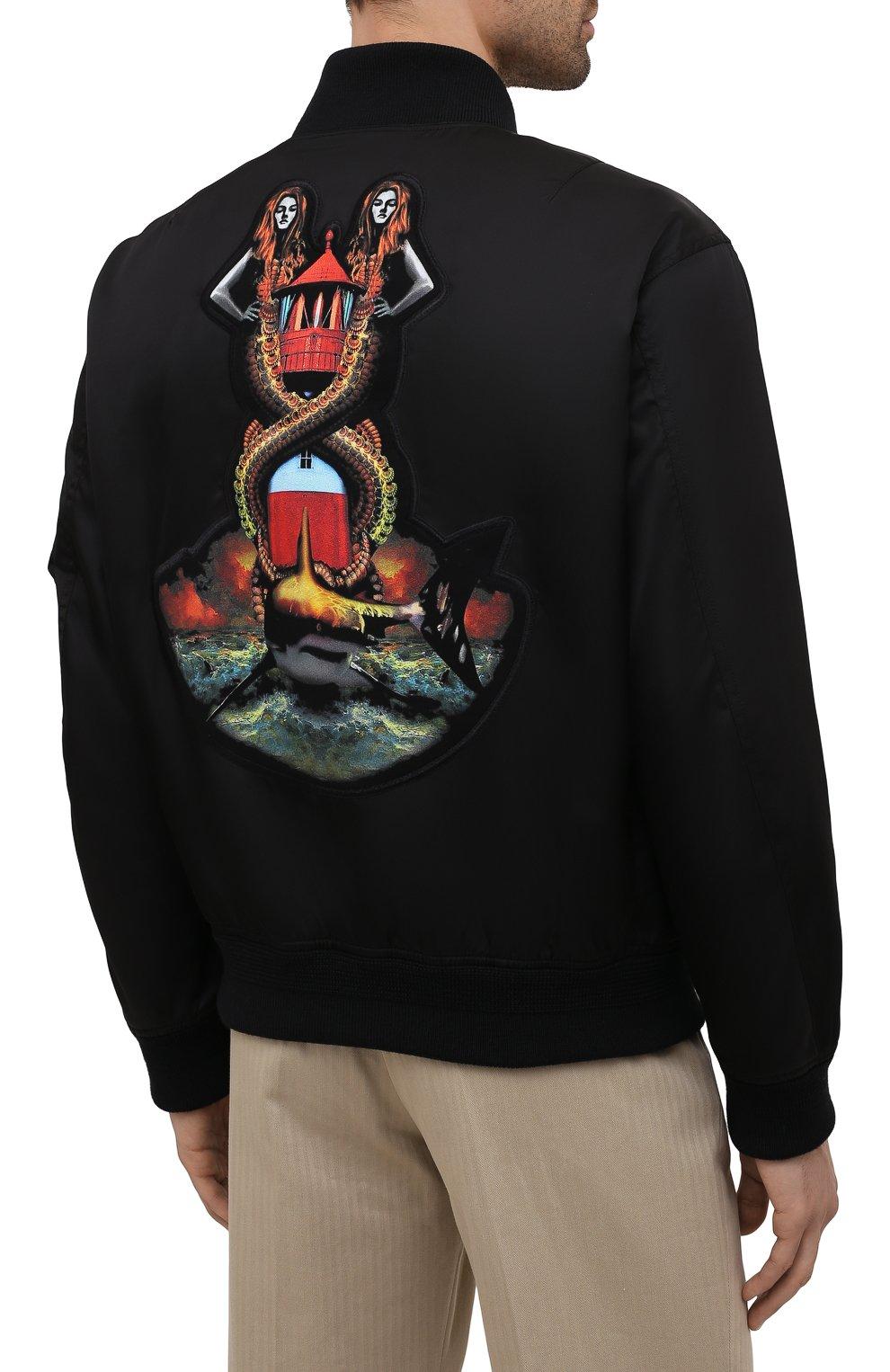 Мужской утепленный бомбер BURBERRY черного цвета, арт. 8040669   Фото 3 (Кросс-КТ: Куртка; Рукава: Длинные; Материал внешний: Синтетический материал; Стили: Гранж; Принт: С принтом; Длина (верхняя одежда): Короткие; Материал подклада: Купро)