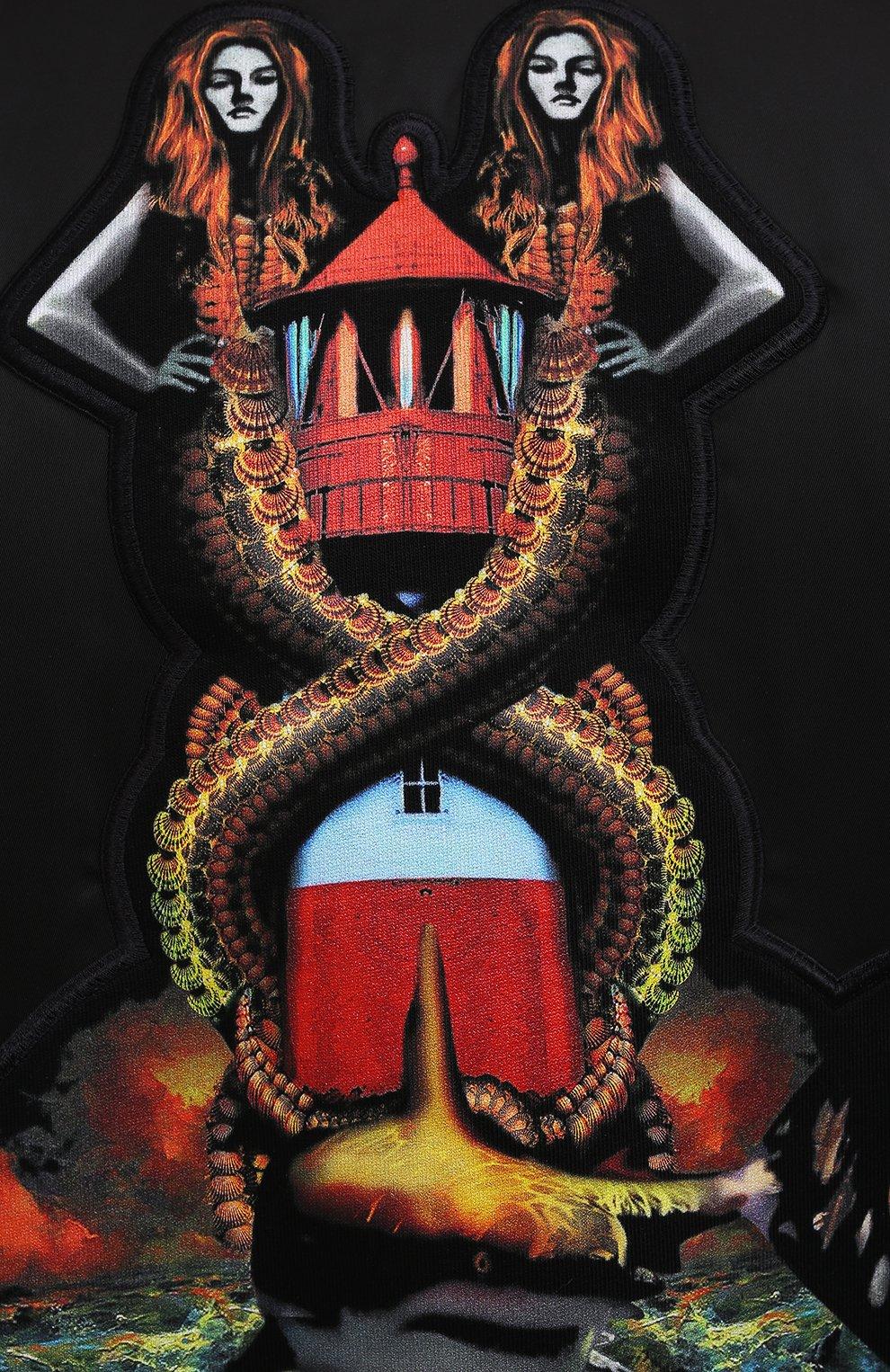Мужской утепленный бомбер BURBERRY черного цвета, арт. 8040669   Фото 5 (Кросс-КТ: Куртка; Рукава: Длинные; Материал внешний: Синтетический материал; Стили: Гранж; Принт: С принтом; Длина (верхняя одежда): Короткие; Материал подклада: Купро)