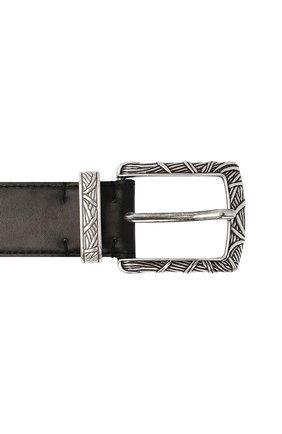 Мужской кожаный ремень KITON черного цвета, арт. USC21PN00100   Фото 3