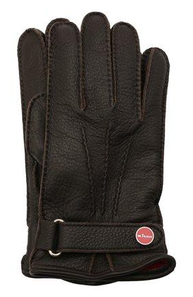 Мужские кожаные перчатки KITON темно-коричневого цвета, арт. UGU023X02T19 | Фото 1