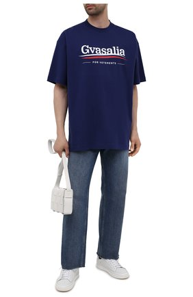 Мужская хлопковая футболка VETEMENTS синего цвета, арт. UA52TR220N 1611/M | Фото 2
