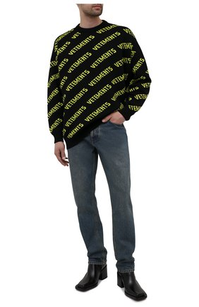 Мужской шерстяной свитер VETEMENTS черного цвета, арт. UA52KN600B 2901/M | Фото 2