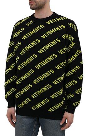 Мужской шерстяной свитер VETEMENTS черного цвета, арт. UA52KN600B 2901/M   Фото 3 (Материал внешний: Шерсть; Рукава: Длинные; Стили: Гранж; Принт: С принтом; Длина (для топов): Удлиненные; Мужское Кросс-КТ: Свитер-одежда)