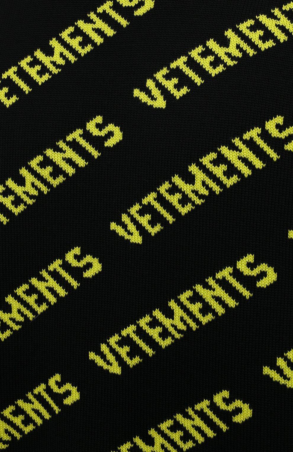 Мужской шерстяной свитер VETEMENTS черного цвета, арт. UA52KN600B 2901/M   Фото 5 (Материал внешний: Шерсть; Рукава: Длинные; Стили: Гранж; Принт: С принтом; Длина (для топов): Удлиненные; Мужское Кросс-КТ: Свитер-одежда)