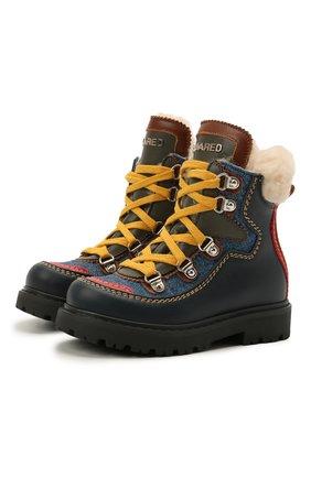 Детские кожаные ботинки DSQUARED2 темно-синего цвета, арт. 68591/KIPS/S0FTY/DENIM/S0FTY/18-27 | Фото 1