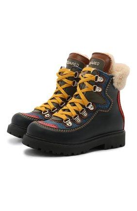 Детские кожаные ботинки DSQUARED2 темно-синего цвета, арт. 68591/KIPS/S0FTY/DENIM/S0FTY/28-35 | Фото 1