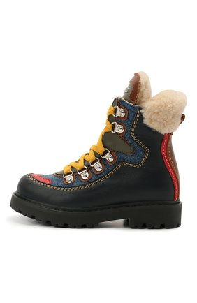 Детские кожаные ботинки DSQUARED2 темно-синего цвета, арт. 68591/KIPS/S0FTY/DENIM/S0FTY/36-41 | Фото 2