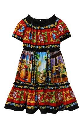 Детское хлопковое платье DOLCE & GABBANA разноцветного цвета, арт. L52DC9/G7WLN/8-14 | Фото 1 (Рукава: Короткие; Материал внешний: Хлопок; Материал подклада: Хлопок; Девочки Кросс-КТ: Платье-одежда; Случай: Повседневный; Ростовка одежда: 10 - 11 лет | 140 - 146см, 9 лет | 134 см, 12 лет | 152 см, 8 лет | 128 см)
