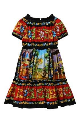 Детское хлопковое платье DOLCE & GABBANA разноцветного цвета, арт. L52DC9/G7WLN/8-14 | Фото 2 (Рукава: Короткие; Материал внешний: Хлопок; Материал подклада: Хлопок; Девочки Кросс-КТ: Платье-одежда; Случай: Повседневный; Ростовка одежда: 10 - 11 лет | 140 - 146см, 9 лет | 134 см, 12 лет | 152 см, 8 лет | 128 см)